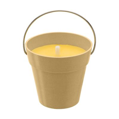 Image of Citronella candle in round pot made from bamboo fibres.