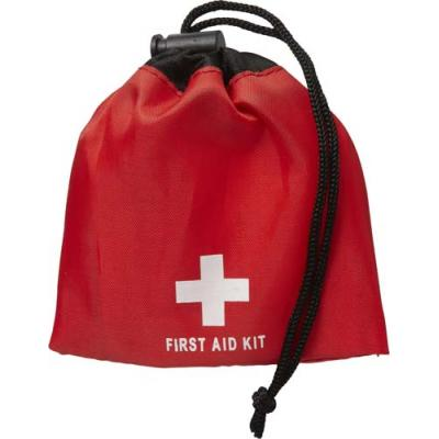 Image of First aid kit in a drawstring bag. 11pc