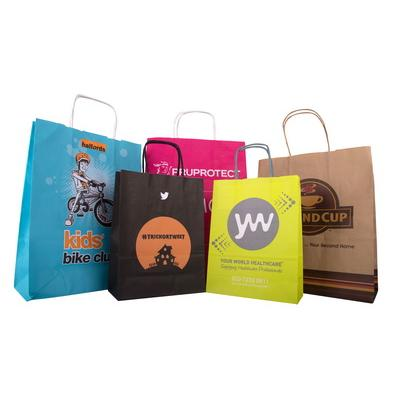 Image of Promotional printed twisted paper Handle Carrier Bag