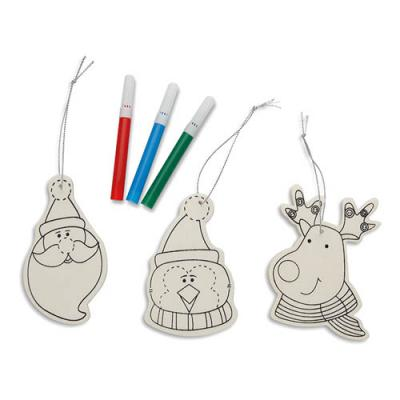 Image of Promotional wooden christmas ornament set
