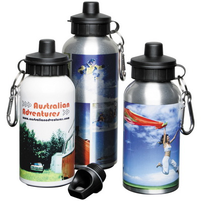 Image of Printed Aluminium Water Bottle in white printed full colour