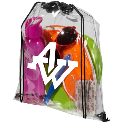 Image of Promotional printed clear pvc drawstring rucksack